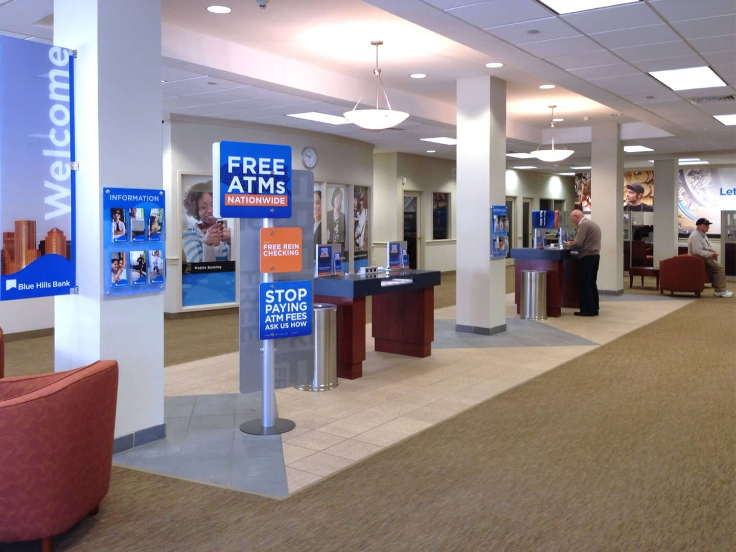 Interior Signage at Blue Hills Bank Lobby Area