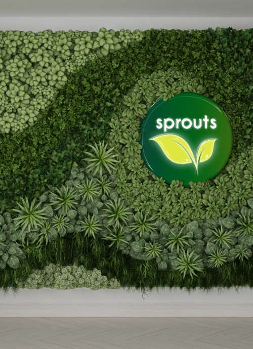 3D lit logo on living wall